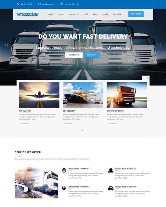 express transports logistics WordPress theme