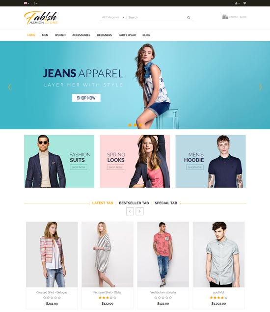 fabish clothes fashion responsive opencart theme