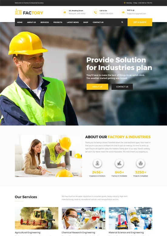 factory industrial business html template