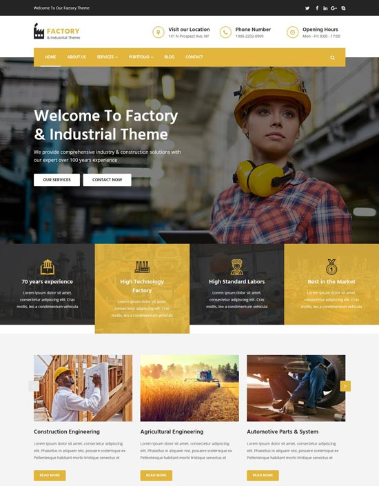 factory industrial html template