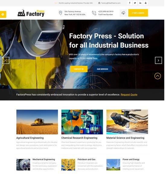 factory press industrial joomla template