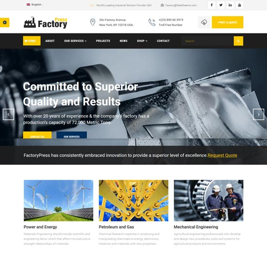 factorypress factory industry wp theme