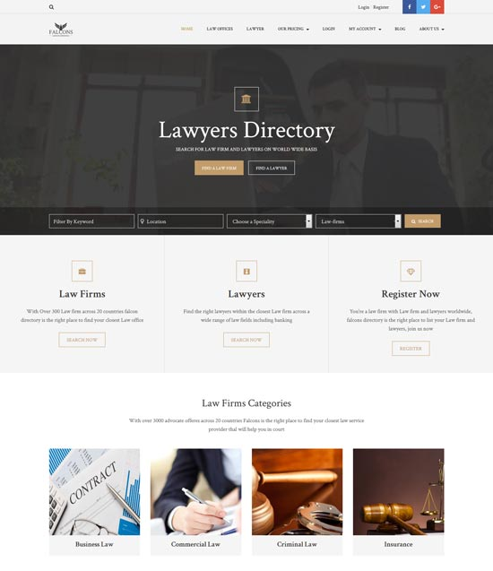 falcons directory lawyers law firms theme