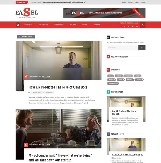 fasel free responsive blogger template