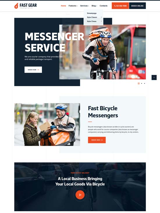 fast gear delivery services wp theme