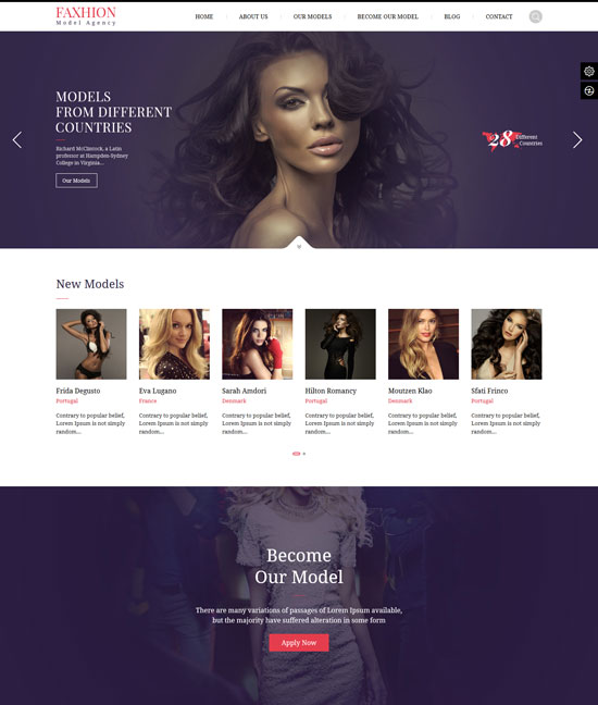 faxhion fashion model agency WordPress theme