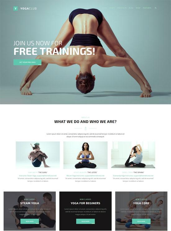 fightclub bodybuilding yoga wp theme