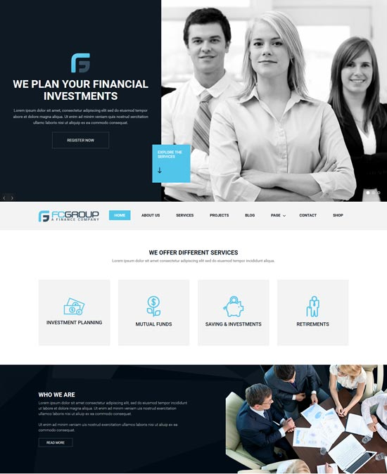 finance group corporate WordPress theme