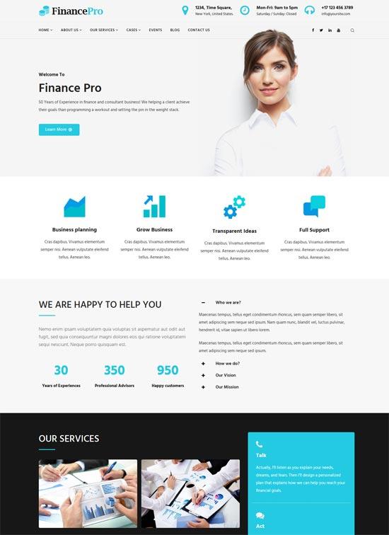 financepro finance business html template