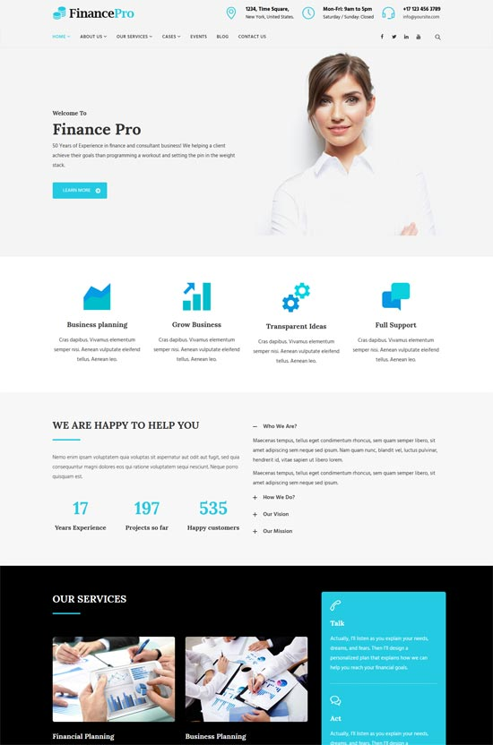 financepro finance business wordpress theme