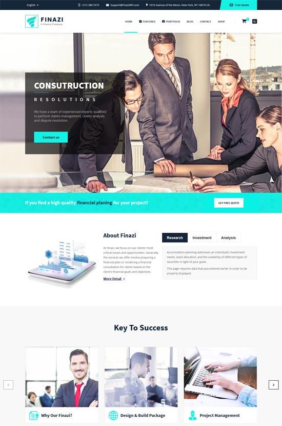 finazi business finance wordpress theme