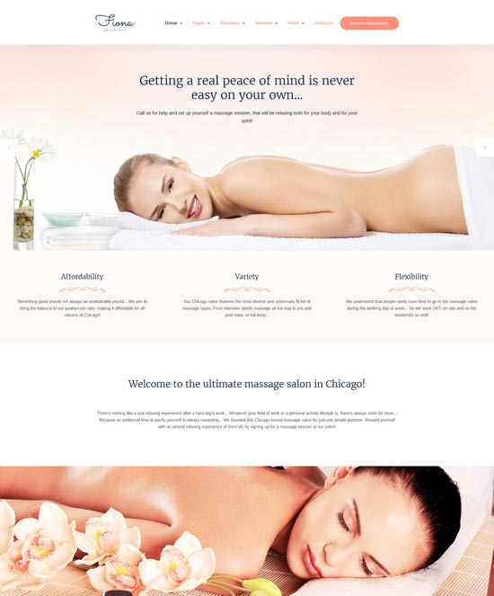 fiona massage salon html template