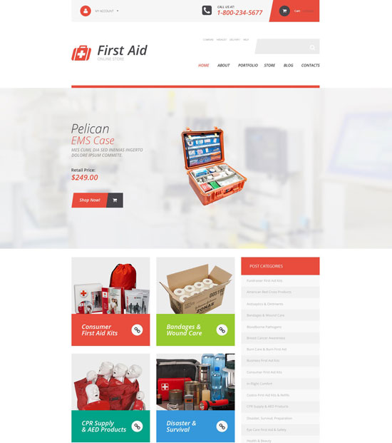 first aid supplies woocommerce theme