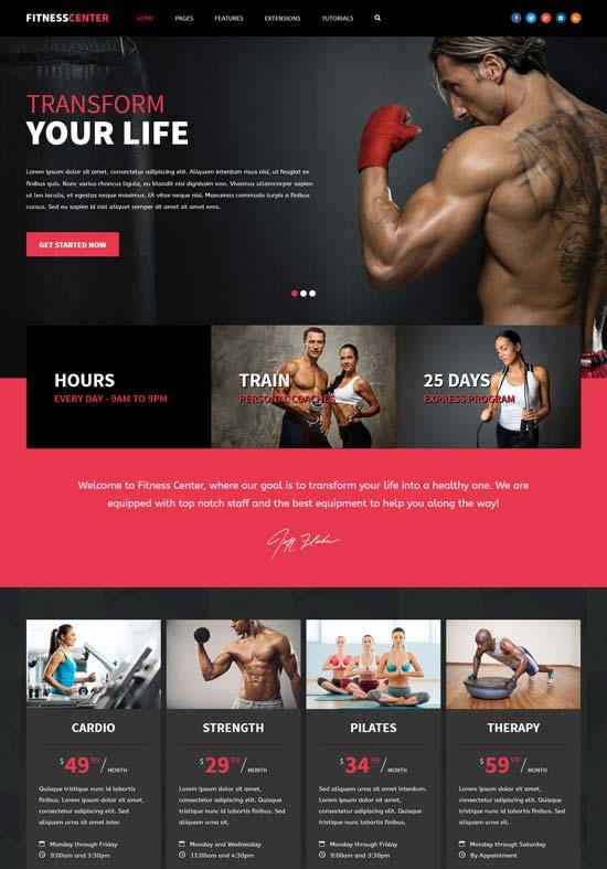 fitness center gym joomla template