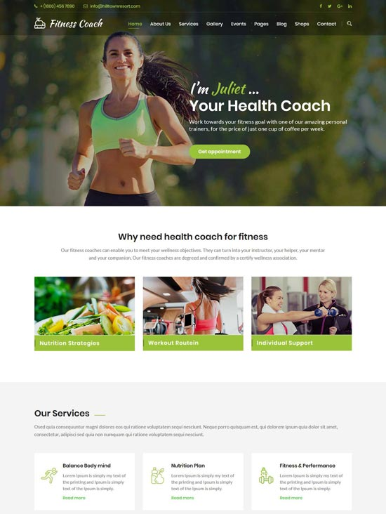 fitness coach personal coach template