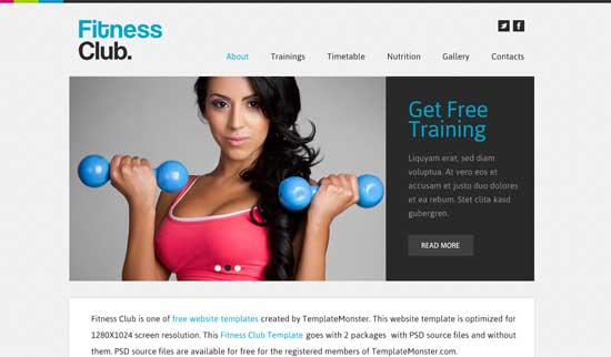 Fitness Club - Free Fitness Gym Website Templates