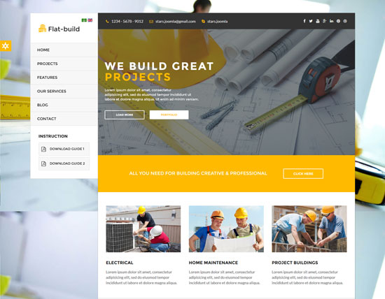 flatbuild construction joomla template