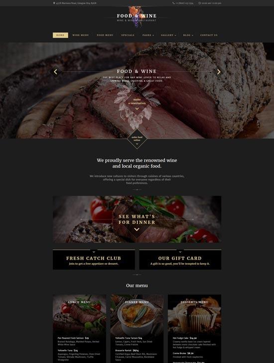 food wine html website template