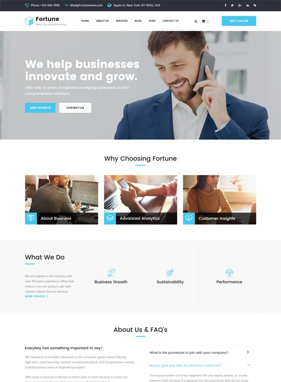 fortune business consulting html template