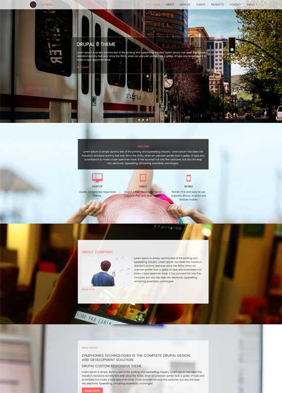 free drupal 8 parallax theme