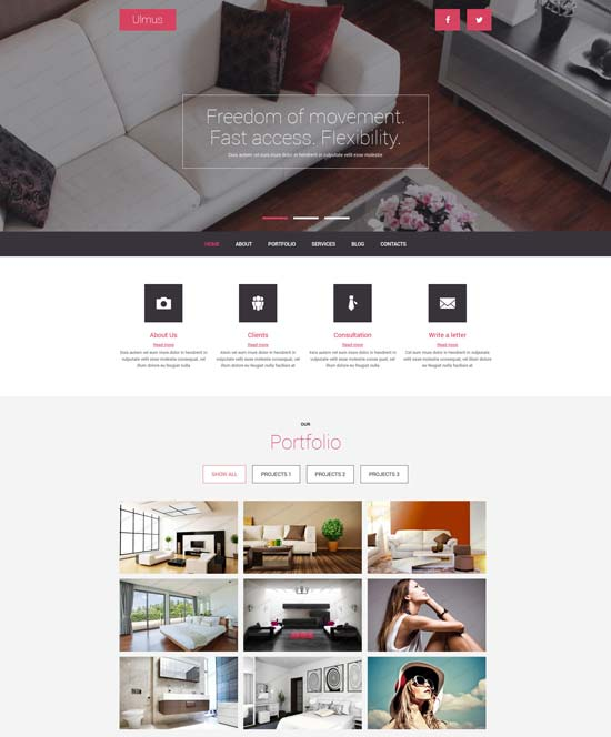 free interior furniture joomla template