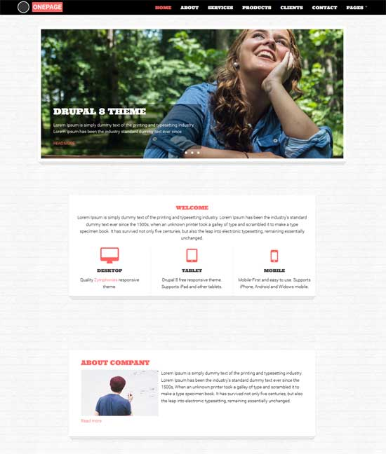 free one page zymphonies theme