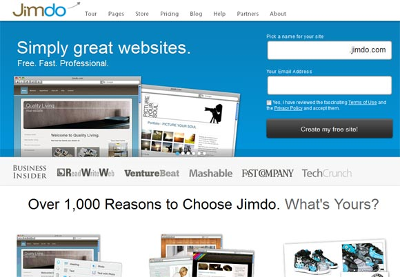Free Online Website Builder  -  Jimdo