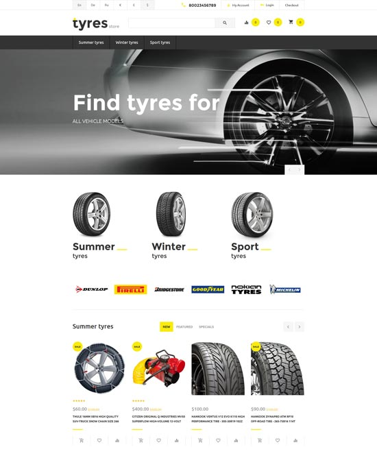 free tires opencart template