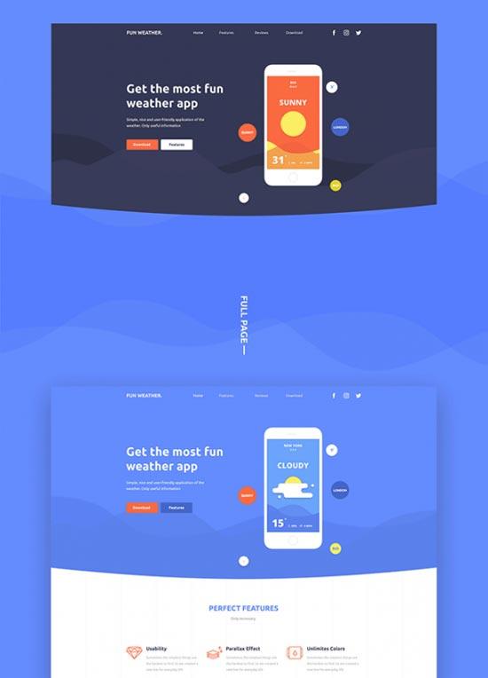 fun weather free psd landing page template