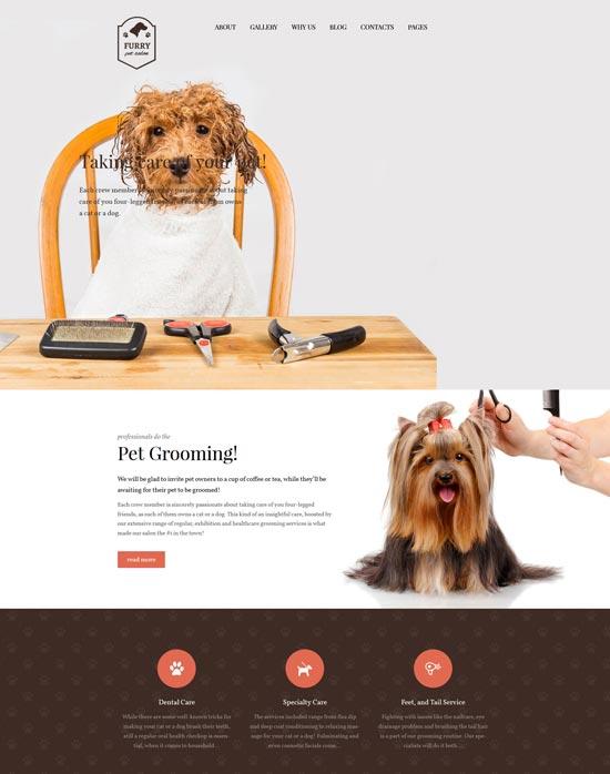 furry pet grooming wordpress theme