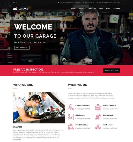 garage car dealer automotive WordPress theme