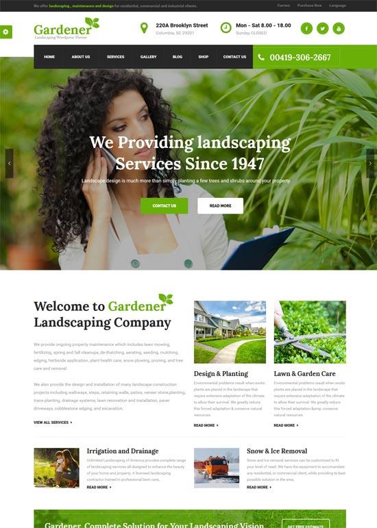gardener gardening lawn wordpress theme
