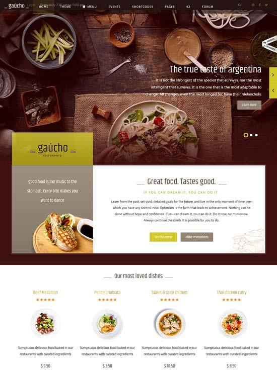gaucho food restaurant joomla template