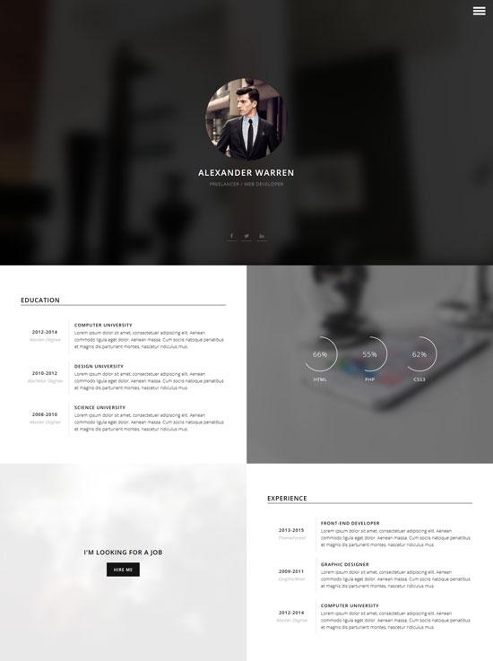 gentleman cv resume vcard WordPress theme