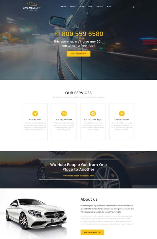 give me transportation taxi services wordpress theme