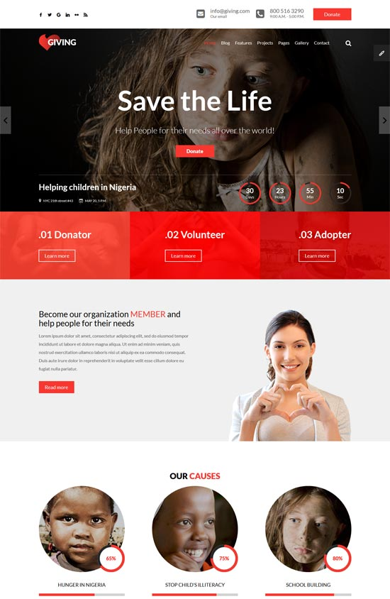 giving ngo charity html template