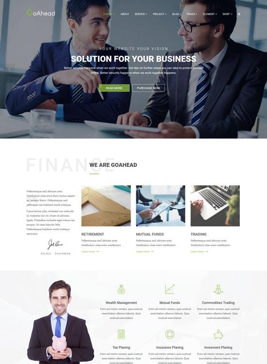 goahead finance WordPress theme