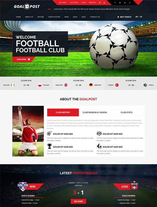 goalpost sports club html template