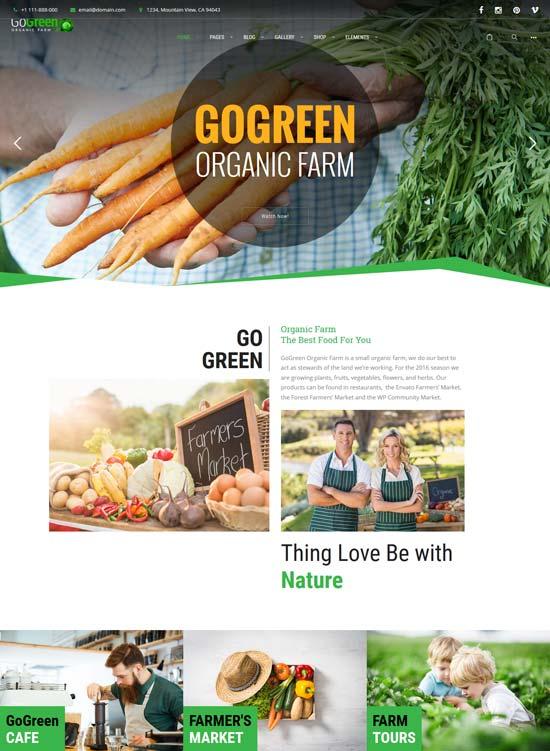 gogreen organic food farm WordPress theme