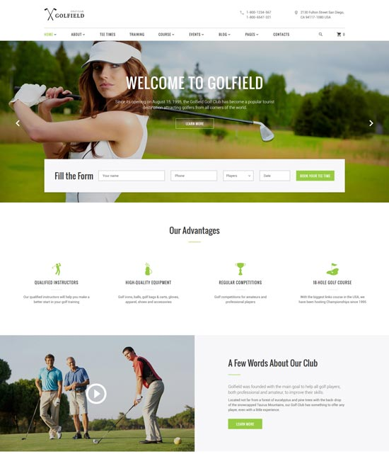 golfield golf club website template