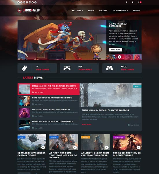 goodgames store html gaming template