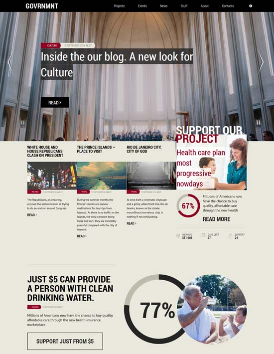government responsive political template