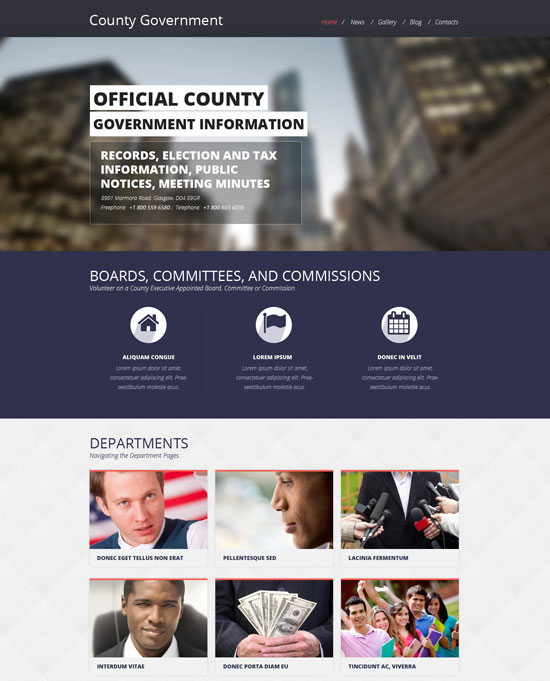 government responsive website template 48697