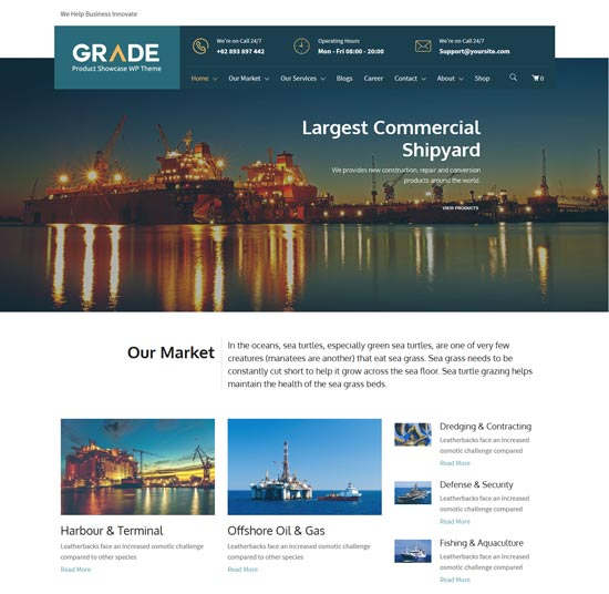 grade industrial product wp theme