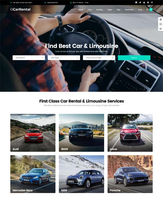 grand car rental limousine wordpress theme