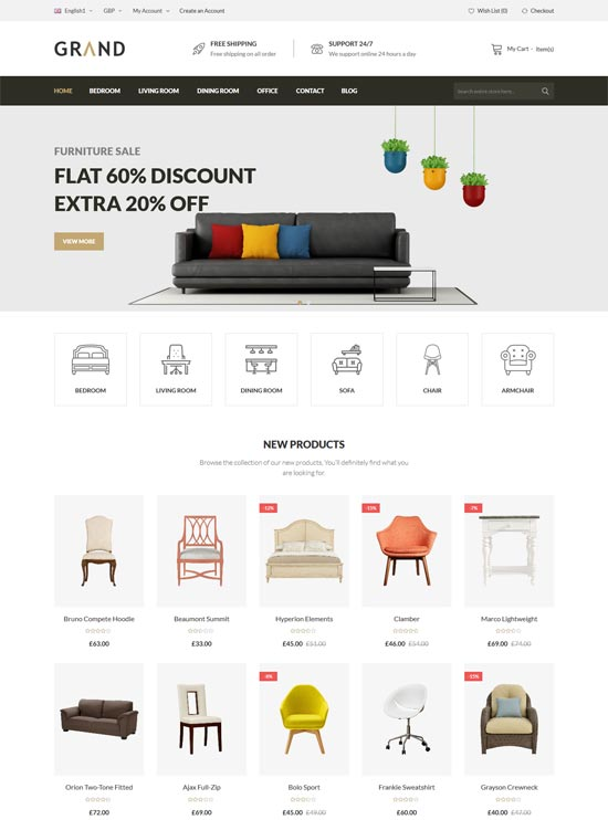 grand responsive furniture magento theme