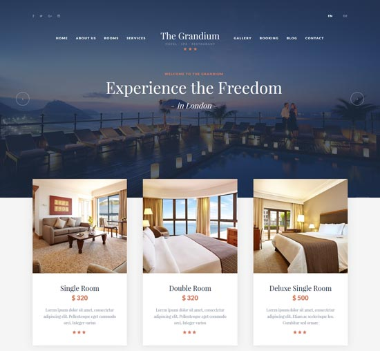 grandium wordpress hotel theme