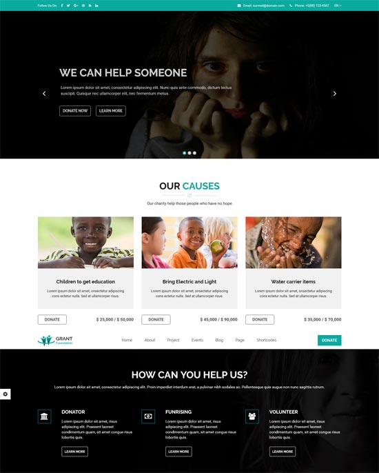 grant foundation nonprofit charity template