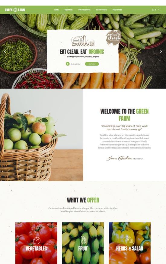 green farm organic food farm wordpress theme