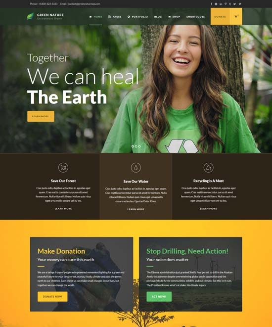 green nature environmental wp theme